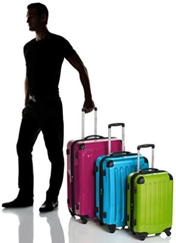 HAUPTSTADTKOFFER - Alex - 3er Koffer-Set Hartschale glänzend Unisex, (S, M & L), 235 Liter, Mehrfarbig (Apfelgrün-blau-Magenta) - 4