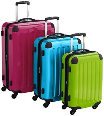 HAUPTSTADTKOFFER - Alex - 3er Koffer-Set Hartschale glänzend Unisex, (S, M & L), 235 Liter, Mehrfarbig (Apfelgrün-blau-Magenta) - 1