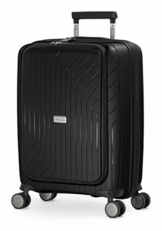 HAUPTSTADTKOFFER- TXL - leichtes Handgepäck mit Laptoptasche, Hartschalentrolley aus robustem Polypropylen, Business Trolley 55 cm, 40 L,TSA-Schloss, Schwarz - 1