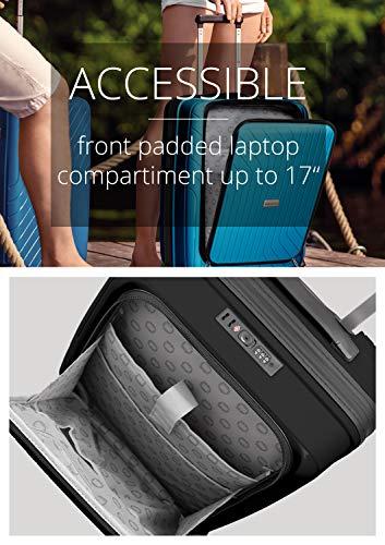 HAUPTSTADTKOFFER- TXL - leichtes Handgepäck mit Laptoptasche, Hartschalentrolley aus robustem Polypropylen, Business Trolley 55 cm, 40 L,TSA-Schloss, Schwarz - 6