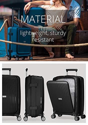 HAUPTSTADTKOFFER- TXL - leichtes Handgepäck mit Laptoptasche, Hartschalentrolley aus robustem Polypropylen, Business Trolley 55 cm, 40 L,TSA-Schloss, Schwarz - 7