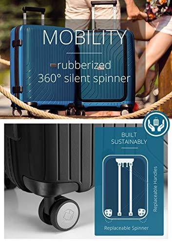 HAUPTSTADTKOFFER- TXL - leichtes Handgepäck mit Laptoptasche, Hartschalentrolley aus robustem Polypropylen, Business Trolley 55 cm, 40 L,TSA-Schloss, Schwarz - 8