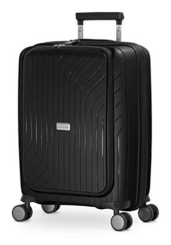 HAUPTSTADTKOFFER- TXL - leichtes Handgepäck mit Laptoptasche, Hartschalentrolley aus robustem Polypropylen, Business Trolley 55 cm, 40 L,TSA-Schloss, Schwarz - 1