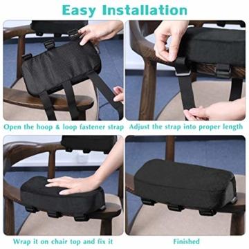 Healifty Armlehnenpolster – Stuhl-Armpolster aus Memory-Schaum, für Bürostuhl, Armlehnen, Gamingstuhl, ergonomisch für Ellbogen und Unterarm-Druckentlastung, Anti-Rutsch-Unterseite, 2 Stück - 4