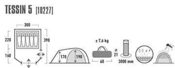 High Peak Kuppelzelt Tessin 5, Campingzelt mit Vorbau, 2 Eingänge, Familien-Zelt für 5 Personen, extra hoher Eingang, doppelwandig, 3.000 mm wasserdicht, Ventilationssystem, Moskitoschutz - 5