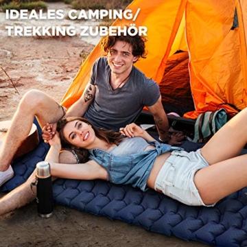 HIKENTURE Isomatte Camping Aufblasbar mit Kissen, Strapazierfähige Luftmatratze Kleines Packmaß, Ultraleichte Schlafmatte, Ideales Camping Zubehör für Outdoor, Wandern, Trekking- Blau mit Pume - 2