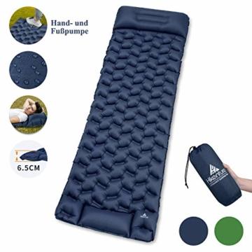 HIKENTURE Isomatte Camping Aufblasbar mit Kissen, Strapazierfähige Luftmatratze Kleines Packmaß, Ultraleichte Schlafmatte, Ideales Camping Zubehör für Outdoor, Wandern, Trekking- Blau mit Pume - 1