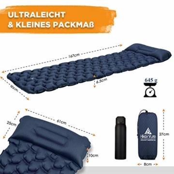 HIKENTURE Isomatte Camping Aufblasbar mit Kissen, Strapazierfähige Luftmatratze Kleines Packmaß, Ultraleichte Schlafmatte, Ideales Camping Zubehör für Outdoor, Wandern, Trekking- Blau mit Pume - 7