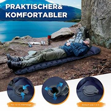 HIKENTURE Isomatte Camping Aufblasbar mit Kissen, Strapazierfähige Luftmatratze Kleines Packmaß, Ultraleichte Schlafmatte, Ideales Camping Zubehör für Outdoor, Wandern, Trekking- Blau mit Pume - 8