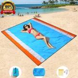 HISAYSY Stranddecke, 210 x 200 cm Sandfreie Picknickdecke Campingdecke Strandtuch, wasserdichte sandabweisende Camingmatte, schnell troknend, Ultraleicht und kompakt Campingdecke für Camping, Wandern - 1