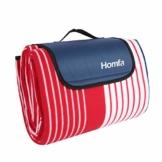 Homfa Picknickdecke XXL Stranddecke mit Tragegriff 200x200cm aus Fleece, wärmeisoliert und wasserdicht für Picknick Camping Reise Rot-Weiß Streifen - 1