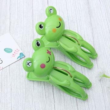 IMIKEYA 4 Stück Kunststoff Cartoon Frosch Form Clips Strand Handtuch Klammern Kleidung Steppdecke Klammern Jumbo Größe (grün) - 2