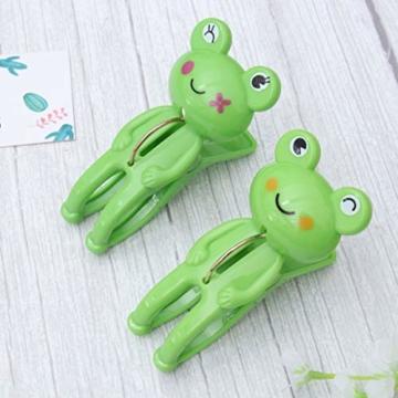 IMIKEYA 4 Stück Kunststoff Cartoon Frosch Form Clips Strand Handtuch Klammern Kleidung Steppdecke Klammern Jumbo Größe (grün) - 3