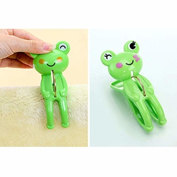 IMIKEYA 4 Stück Kunststoff Cartoon Frosch Form Clips Strand Handtuch Klammern Kleidung Steppdecke Klammern Jumbo Größe (grün) - 4