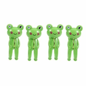 IMIKEYA 4 Stück Kunststoff Cartoon Frosch Form Clips Strand Handtuch Klammern Kleidung Steppdecke Klammern Jumbo Größe (grün) - 1