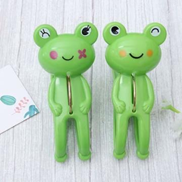 IMIKEYA 4 Stück Kunststoff Cartoon Frosch Form Clips Strand Handtuch Klammern Kleidung Steppdecke Klammern Jumbo Größe (grün) - 6