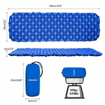 IREGRO Camping Isomatte Aufblasbare Isomatte Für Rucksacktouren, Reisen und Wandern,Air Cell Design für bessere Stabilität - 2