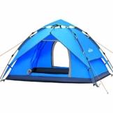 IREGRO Wurfzelt automatisches Campingzelt 3-4 Personen Familienzelt Tunnelzelt Kuppelzelt Sekundenzelt Schnellaufbau für Outdoor Sport Camping Wandern Reisen Strand(blau) - 1