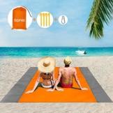 ISOPHO Picknickdecke 200 x 210 cm Stranddecke Wasserdicht, Strandmatte 4 Befestigung Ecken Stranddecke Sandfrei/Picknick für den Strand, Campen, Wandern und Ausflüge(Orange) - 1