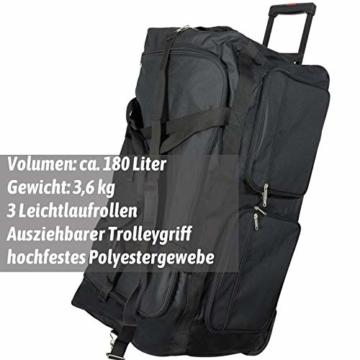 JEMIDI XXXL Riesen Reisetasche nur 3,6kg 180L Reisegepäck Sporttasche XL Schwarz mit Leichtlaufrollen - 6