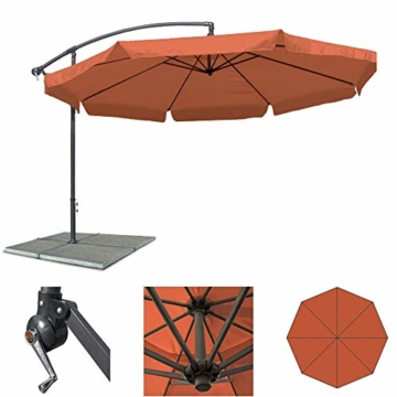 JOM Ampelschirm 350 cm Sonnenschirm Gartenschirm Terassenschirm mit Kurbel verstellbar UV Schutz - 1