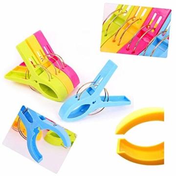 July Miracle Strandtuch Clips, 8 Große Winddichte Kunststoff-Badetuch-Clips, Quilt Clamps Wäscheklammern für Pool-Stühle, Wäsche, Sonnenliegen und Liegestühle - 3