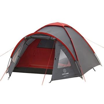 JUSTCAMP Campingzelt Scott 4, mit Vorraum; Iglu-Zelt für 4 Personen (doppelwandig) - grau - 3