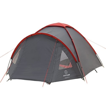 JUSTCAMP Campingzelt Scott 4, mit Vorraum; Iglu-Zelt für 4 Personen (doppelwandig) - grau - 6