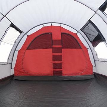 JUSTCAMP Familienzelt Atlanta 5, Tunnelzelt für 5 Personen mit Vordach, eingenähter Boden - grau - 8