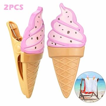 KBNIAN 2 Stück Strandtuchklammern Eiscreme Strandtuch Clips Kunststoff Strandtuch Handtuchclips Mehrzweck Handtuchklammern, für Strandtücher, Badetücher, Handtuch, Teppiche, Kleidung - 1