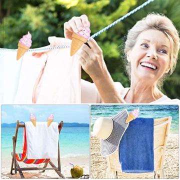 KBNIAN 2 Stück Strandtuchklammern Eiscreme Strandtuch Clips Kunststoff Strandtuch Handtuchclips Mehrzweck Handtuchklammern, für Strandtücher, Badetücher, Handtuch, Teppiche, Kleidung - 6