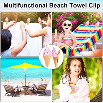 KBNIAN 2 Stück Strandtuchklammern Eiscreme Strandtuch Clips Kunststoff Strandtuch Handtuchclips Mehrzweck Handtuchklammern, für Strandtücher, Badetücher, Handtuch, Teppiche, Kleidung - 7