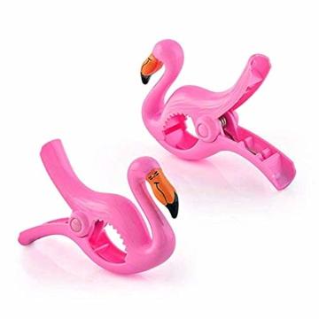 Keleily Handtuchklemmen Flamingo 4 Stück Strandtuchklammern Groß Wäscheklammern Groß Kunststoff Boca Clips Winddichte Handtuchklammern für Strandliegen für Strandtuch, Badetuch, Teppich, Kleidung - 3