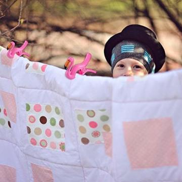 Keleily Handtuchklemmen Flamingo 4 Stück Strandtuchklammern Groß Wäscheklammern Groß Kunststoff Boca Clips Winddichte Handtuchklammern für Strandliegen für Strandtuch, Badetuch, Teppich, Kleidung - 5