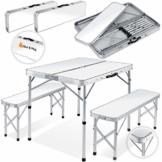KESSER® - Koffertisch mit 2 Sitzbänke 3tlg Campingmöbel Set Aluminium | Totalmaße geklappt 91x10x34 cm | Campingtisch Klapptisch Picknick | Inkl. Schirmhalterung | Tragegriff | MDF | Klappbar Weiß - 1