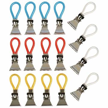 K&G 16er Set Handtuch-Haken Bunt | Multifunktions Clips | Ersatz-Ösen | Geschirrtücher, Topflappen Aufhänger | Klemmen | Bad & Küchen Zubehör - 1