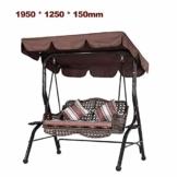 KKmoon Ersatzdach Gartenschaukel Universal 1950 * 1250 * 150 mm Hollywoodschaukel 3 Sitzer UV Ersatz Bezug Sonnendach Schauke lKaffee195 - 1
