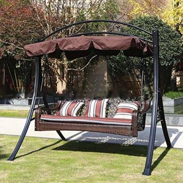KKmoon Ersatzdach Gartenschaukel Universal 1950 * 1250 * 150 mm Hollywoodschaukel 3 Sitzer UV Ersatz Bezug Sonnendach Schauke lKaffee195 - 4