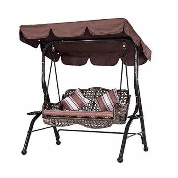 KKmoon Ersatzdach Gartenschaukel Universal 1950 * 1250 * 150 mm Hollywoodschaukel 3 Sitzer UV Ersatz Bezug Sonnendach Schauke lKaffee195 - 6