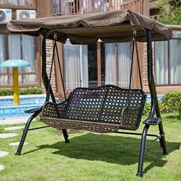 KKmoon Ersatzdach Gartenschaukel Universal 1950 * 1250 * 150 mm Hollywoodschaukel 3 Sitzer UV Ersatz Bezug Sonnendach Schauke lKaffee195 - 7