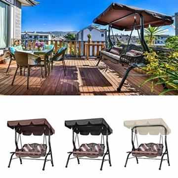 KKmoon Ersatzdach Gartenschaukel Universal 1950 * 1250 * 150 mm Hollywoodschaukel 3 Sitzer UV Ersatz Bezug Sonnendach Schauke lKaffee195 - 9