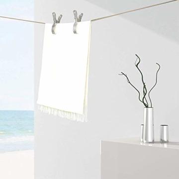 KongJies Strandtuch-Klammern, 4 Stück, Edelstahl, windbeständig, für Pool / Decke, silberfarben - 7