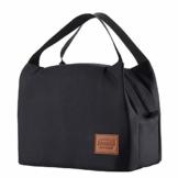 Kühltasche Klein Leicht Lunch Tasche Isoliertasche zur Arbeit Schule Faltbar Wasserdicht Reißverschluss 8,5L Schwarz - 1
