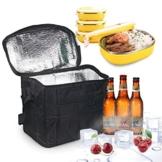 LEBEXY Kühltasche Eistasche Picknicktasche Lunch Tasche faltbar, 10L, Schwarz - 1