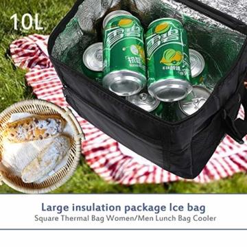 LEBEXY Kühltasche Eistasche Picknicktasche Lunch Tasche faltbar, 10L, Schwarz - 6