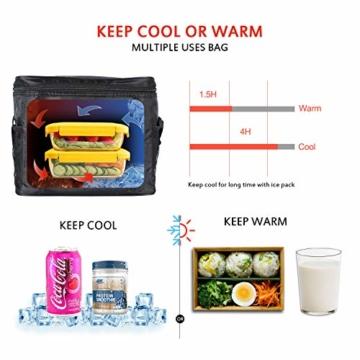 LEBEXY Kühltasche Eistasche Picknicktasche Lunch Tasche faltbar, 10L, Schwarz - 7