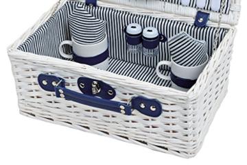 levandeo Picknick-Korb Tragekorb Koffer aus Weide in blau weiß für 2 Personen - maritim 16 Teile Besteck Teller Tasse Service - 2