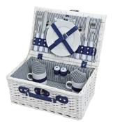 levandeo Picknick-Korb Tragekorb Koffer aus Weide in blau weiß für 2 Personen - maritim 16 Teile Besteck Teller Tasse Service - 1