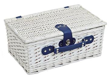 levandeo Picknick-Korb Tragekorb Koffer aus Weide in blau weiß für 2 Personen - maritim 16 Teile Besteck Teller Tasse Service - 3