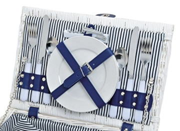 levandeo Picknick-Korb Tragekorb Koffer aus Weide in blau weiß für 2 Personen - maritim 16 Teile Besteck Teller Tasse Service - 4